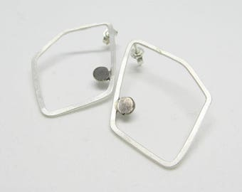 Modern Studs Earrings - Geometric Earrings - Silver Studs - Minimal Earrings - Thin Earrings