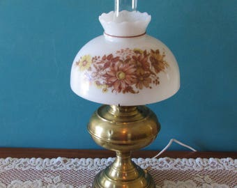 "Brass ""Rayo"" Oil Lamp Converted to Electric Lamp ~ Antique Brass Lamp ~ Milk Glass Globe ~ Great Vintage Condition"