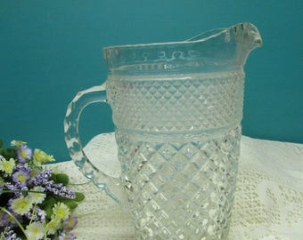 Wexford  Pitcher ~ Anchor Hocking ~ Diamond Crisscross Pattern ~ Elegant ~ Heavy Crystal  ~ Circa 1960's ~ Hollywood Regency ~ Traditional