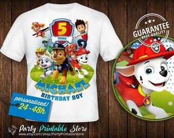 Paw Patrol Birthday Shirt, T-shirt Paw Patrol, Birthday Party, Personalized Family Shirts, Iron on Transfer, Printable