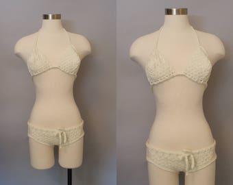 1970s Crochet 2 Piece Swim Suit / 1970s Bathing Suit / Bikini