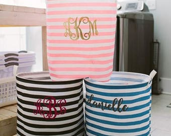 Heartstrings Personalized Striped Laundry Hamper