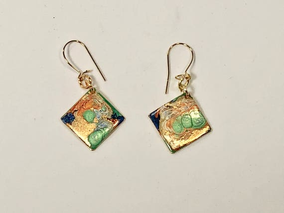Handmade small diamond shape green/orange/blue/gold enamel gold filled earrings with abstract designs