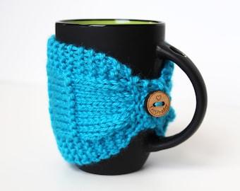 Coffee Cozy - Knitted Mug Cozy - Turquoise Cozy - Coffee Cup Cozy - Coffee Cozy - Tea Mug Cozy - Mug Jacket - Light Blue Mug Sleeve
