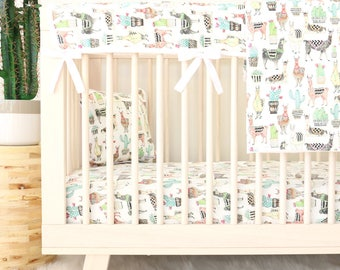 Lovely Llama Bumperless Baby Bedding | Cactus, Llama, Gender Neutral, Teething Guard Boy Crib Set | Modern Nursery