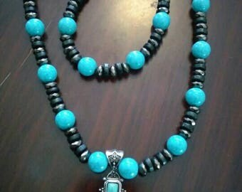 Turquoise and Silver Cross Necklace set