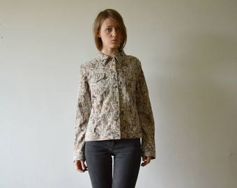 vintage floral brocade denim style jacket in taupe brown beige medium large size 40