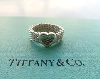 Authentic Tiffany & Co. Somerset Mesh Heart Sterling Silver Band Ring Size 6.5
