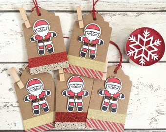 5 Large Handmade Luxury Santa Christmas Gift Tags for Presents Gift Wrap