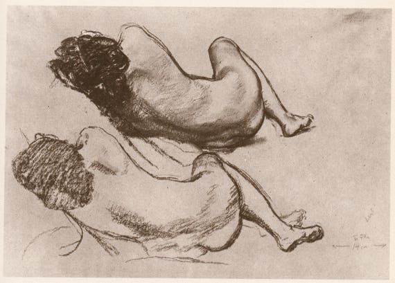 Vintage print of sketch of 2 nude reclining women by Jan Preisler, book print published 1982