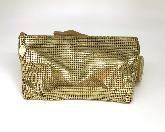 Vintage Whiting and Davis gold mesh purse with zippered top, very simple, could be used as cosmetics bag or simple evening purse