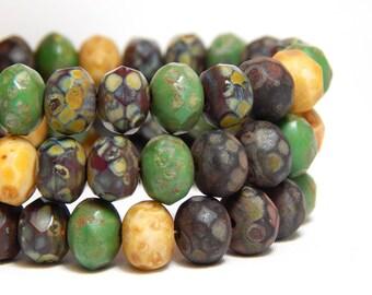 8x6mm Earthy Czech Rondelles, Mixed Rustic Czech Beads, Green Beads, Earthy Beads, Rustic Beads, Mixed Beads, Faceted Beads T-74E