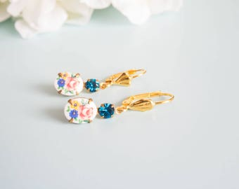 "Earrings ""Lilou"" Golden brass & cabochon"
