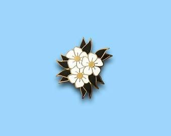 White Flower enamel pin