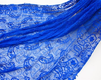 cobalt blue lace fabric,eyelash lace fabric for dress,Blue wheel Chantilly lace