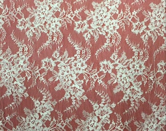 off white Chantilly corded Lace fabric, Chantilly Lace Fabric, 59inches Wide for Veil, Dress, Costume, Craft Making-7198C