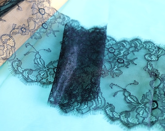 Skirts lace fabric,Black cording Lace -17cm,3 meters off white French Chantilly Lace ,Exquisite Eyelash Lace Trim,Wedding lace fabric