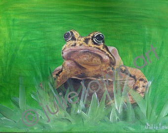 My Original, signed, Acrylic on Canvas, Frog in the grass by Julie Lawn artist