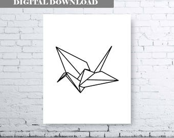 Paper Crane Wall Art. Paper Crane Printable Wall Art. Modern Printable Wall Art. Origami Printable Wall Art. Minimalist Printable Wall Art.