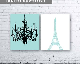 Eiffel Tower Chandelier Prints Set of Two (2)-Instant Download.Paris.French.Wall Art. Aqua and Black French Art. Blue Eiffel Tower Print