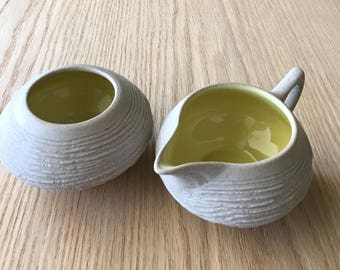 Pigeon Forge pottery sugar bowl and creamer vintage Tennissee mid century