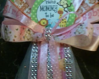 it's A Girl Baby Shower Jungle safari set Mommy and Daddy corsages and tie