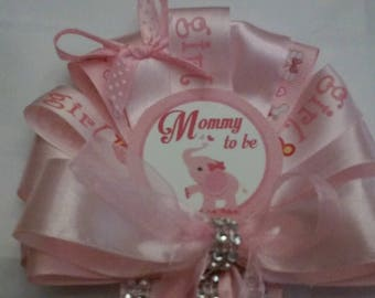 Pink Elephant Mommy Baby shower corsage and Daddy to be Tie