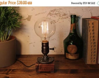 25% OFF SALE Industrial Lighting - Steampunk Lamp - Table Lamp - Edison Light - Vintage Light - Pipe Lamp - Bedside Lamp - Rustic Lighting -