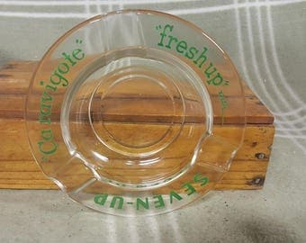 """Vintage """"fresh up"""" with Seven-Up Glass Ashtray. 7up. Advertising."""
