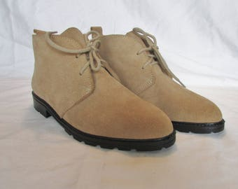 Desert Boots Size 7.5 Suede Loafers Lace-up Casual Shoes Flats Leather Ankle Boots Made in Canada by MARIE CLAIRE Beige Desert Boots