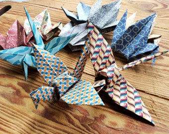 Origami Paper Cranes 15cm X 10 Patterned  Paper - Origami Birds - Folded Paper Birds - Recycled Origami Wedding Favours Ornament Decoration
