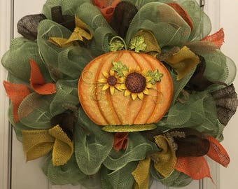 Fall Fern Green pumpkin/sunflower wreath