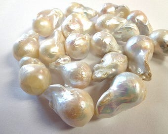 Natural Large Nucleated Baroque Pearl Strand!!!.