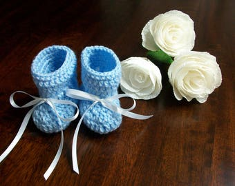Blue Crochet Baby Boots, Blue Baby Shoes, Blue Crib Shoes, Blue Crib Booties, Blue Crochet Baby Boots, Blue Crochet Baby Shoes
