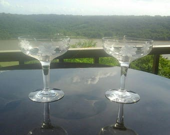 Vintage Toasting Mid Century MCM  Clear Glass Grey Etched Floral Champagne Coupes Set of 2
