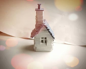 Little Grey House - Small Recycled Cardboard Model Sculpture Decoration Gift - Purple Painted Miniature Small House - MADE TO ORDER