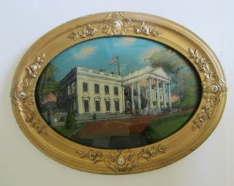The White House Washington DC Antique Oval Art Convex Reverse Glass Painting Circa 1917