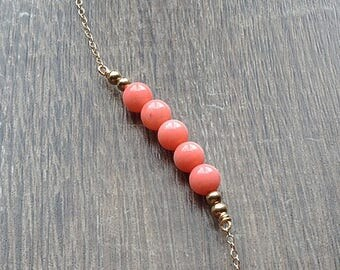 Coral necklace, Pink gemstone necklace, coral bead necklace, tiny choker necklace, dainty pink row necklace, 14kt gold fill sterling silver