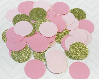 Pink and gold confetti, First Birthday, baby shower confetti, baby tea, chevron confetti, party confetti pink and cream, wedding table decor