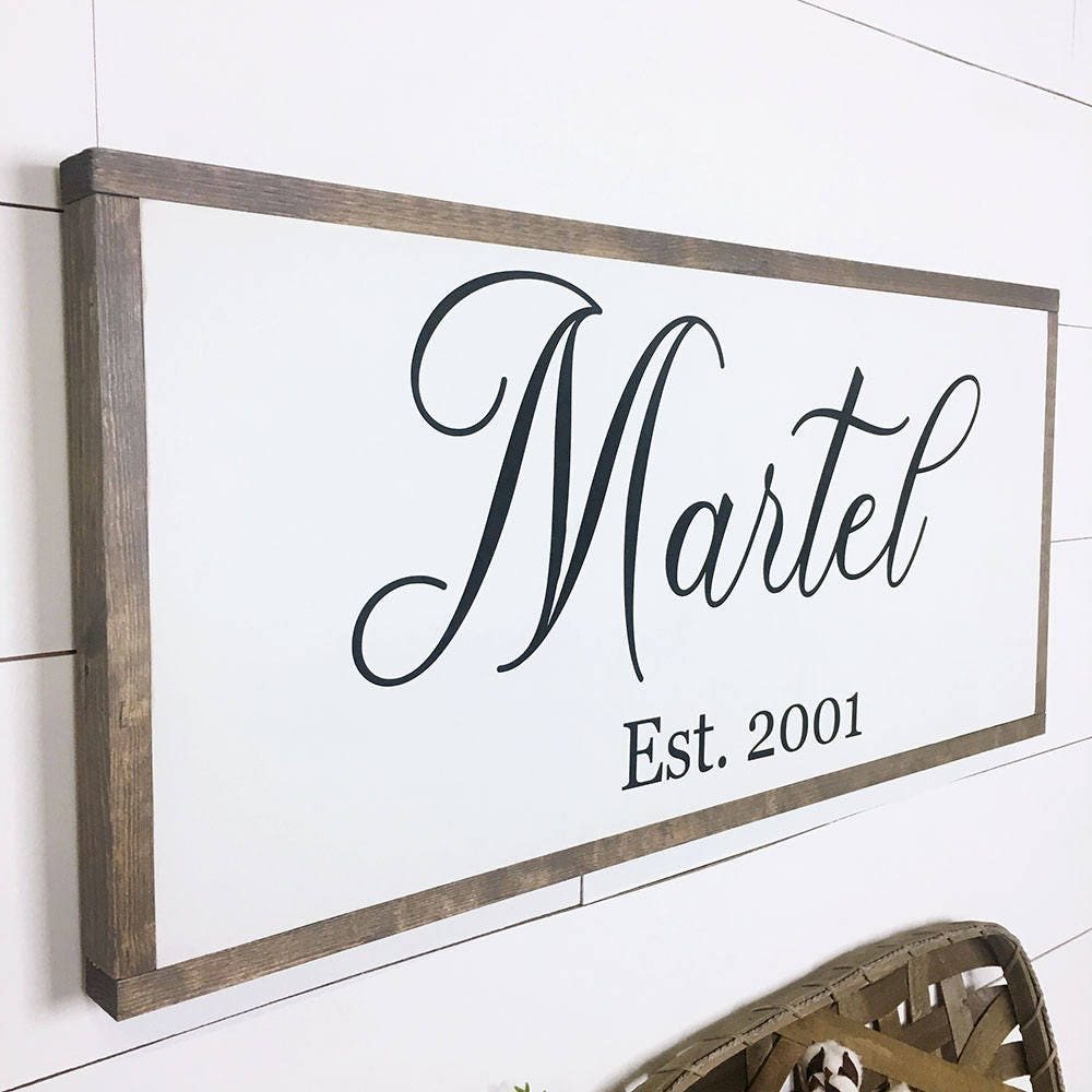 Last Name Wood Sign, Family Established Wood Sign, Hand Painted ...