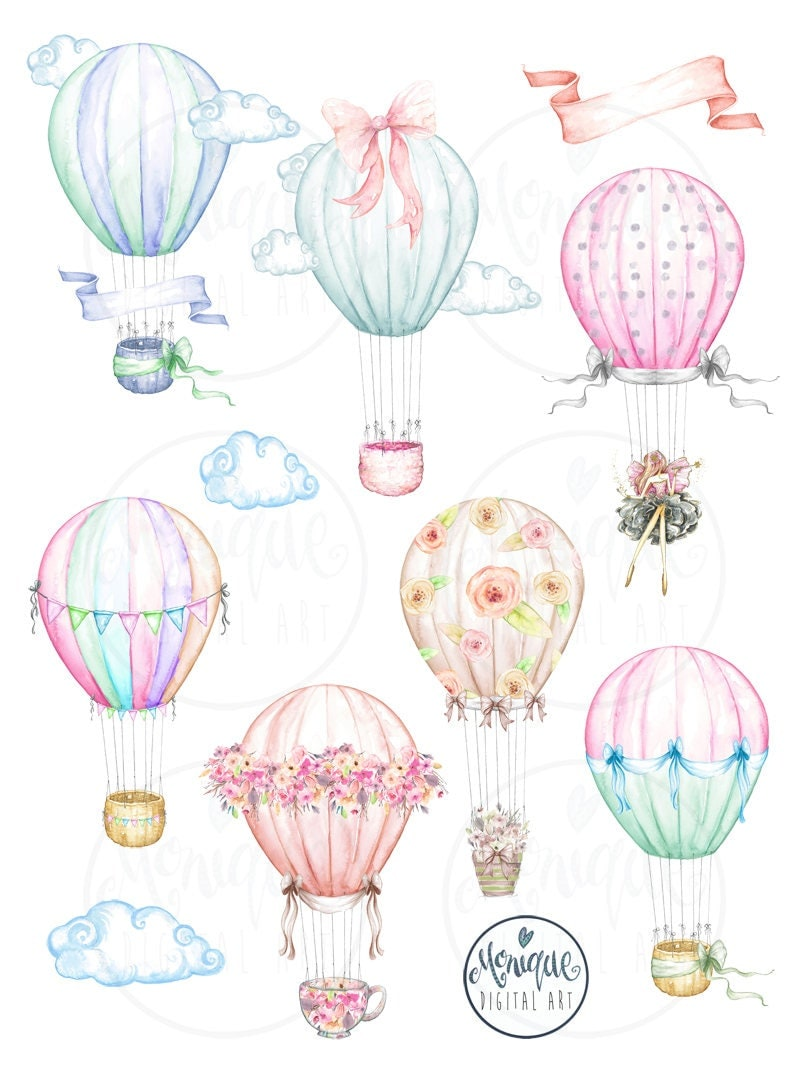 Hot Air Balloons Watercolor,Planner Clipart,Cute Balloons ...