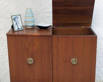 Mid Century Walnut Stereo Console Cabinet