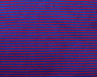 Fabric - cotton/elastane medium weight striped jersey fabric - red/navy - knit fabric.