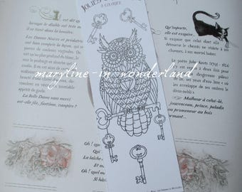 coloring bookmark OWL OWL coloring page