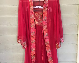 Vintage Sheer/ Embroidered Silk Red Kimono Robe w/ matching Strapless Dress