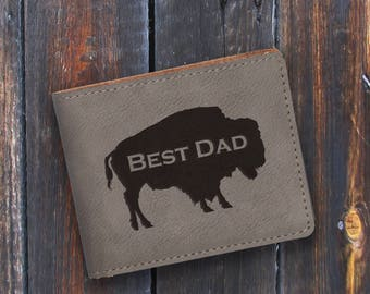 Best Dad-Engraved Bifold Wallet - Personalized Hunting-Full Size Art Work-Gray-Grey-Personalized Buffalo