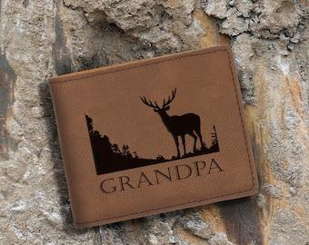 Grandpa-Engraved Bifold Wallet - Personalized Hunting-Full Size Art Work-Dark Brown-Buck