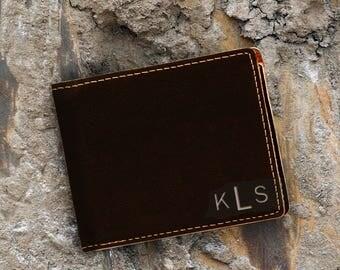 Monogram-Personalized-Leatherette Wallet-Engraved Bifold Wallet-Black Engraves Silver-Black Wallet