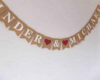 Wedding bunting personalised, Engagement bunting decor, Same sex wedding, Burgundy
