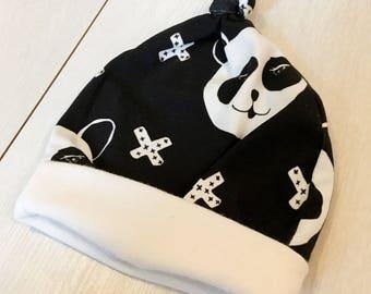Newborn baby hat, organic baby hat, scandi baby clothes, grow with me baby hat, grow with me baby clothes, newborn baby gift, panda baby hat